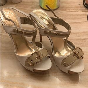 Gold and brown heels.Guess worn once miner scuffs
